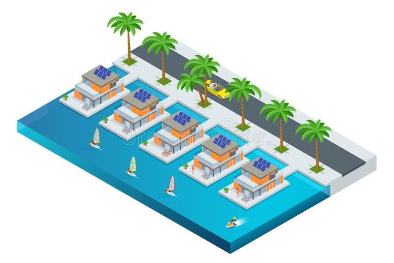 与棕榈树、敞蓬车、游艇和海的豪华热带旅馆手段 旅行夏天旅行目的地和海滩胜地 向量例证