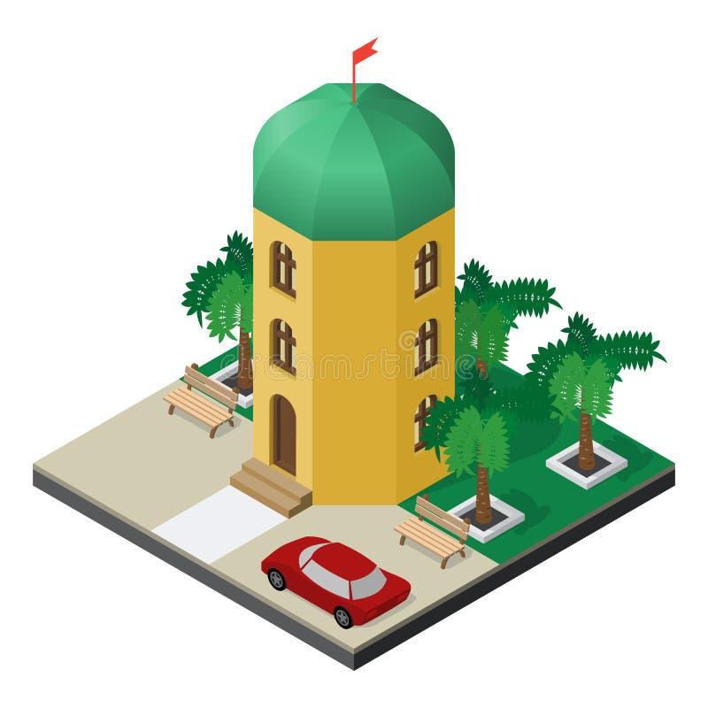 与棕榈树、长凳和汽车的三层塔大厦在等轴测图 库存例证