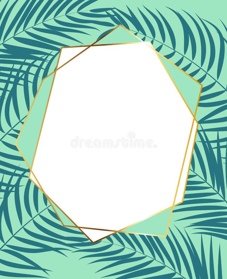与棕榈树叶子剪影传染媒介例证的Beautifil金黄框架 皇族释放例证