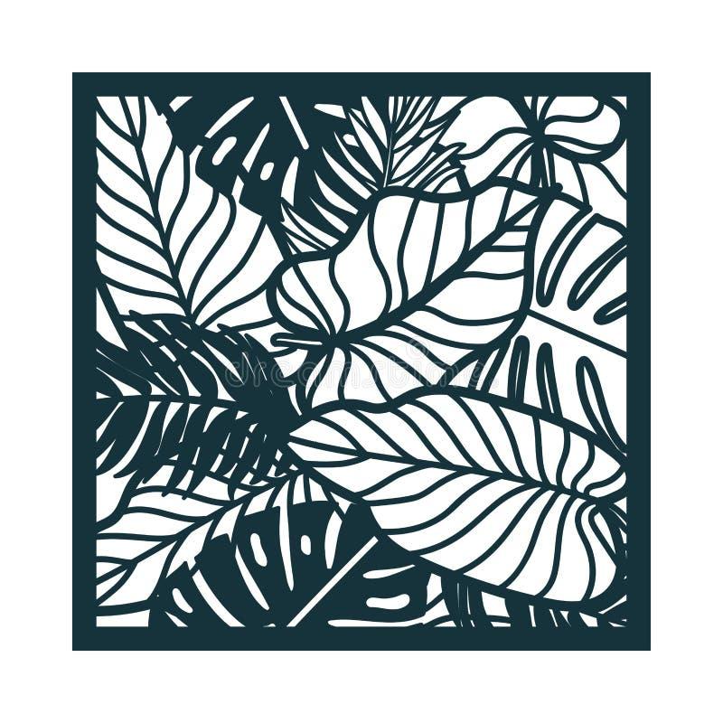 与棕榈树叶子的美丽的卡片 雨林主题 库存例证