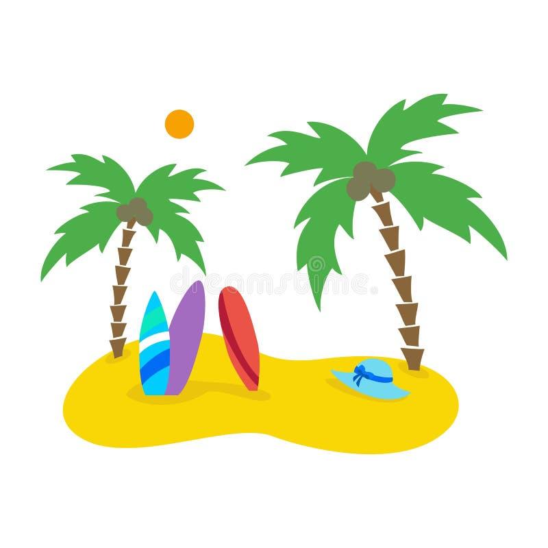 与棕榈树和冲浪板的夏天海景 库存例证