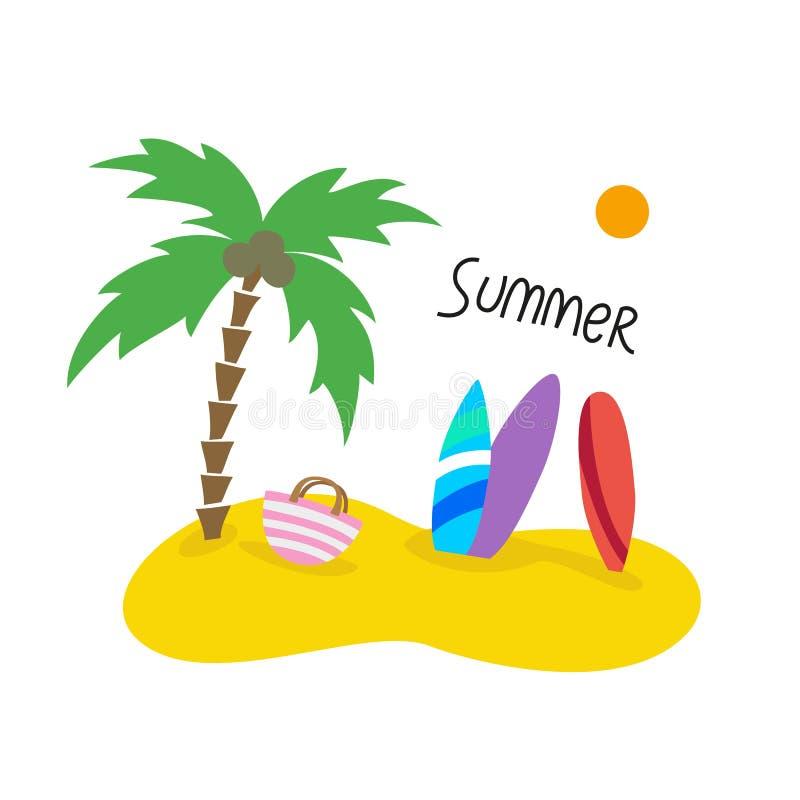 与棕榈树和冲浪板的夏天海景 皇族释放例证