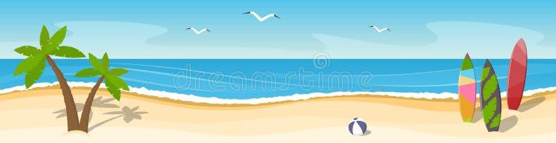 与棕榈树和冲浪板的晴朗的海景 全景 安置f 皇族释放例证
