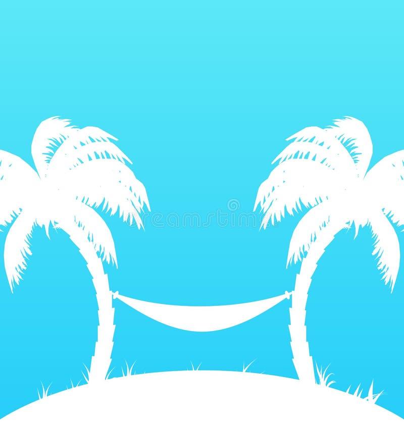 与棕榈树和吊床的热带天堂背景 库存例证