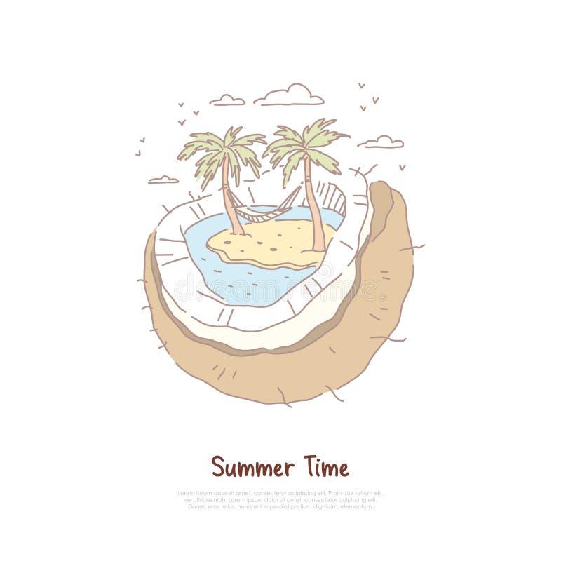 与棕榈树和吊床,夏天休假旅游业,异乎寻常的休闲,热带手段横幅的超现实的海滩 向量例证
