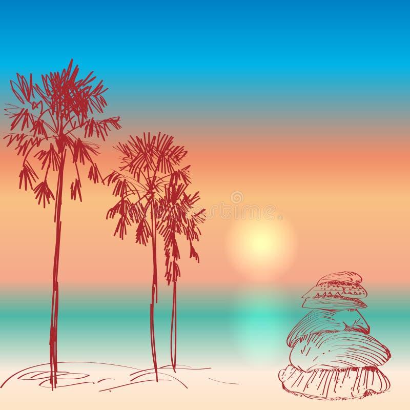 与棕榈树和贝壳日落的海景 皇族释放例证