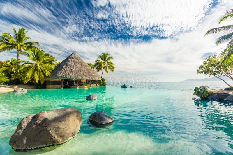 与棕榈树岩石的无限水池,塔希提岛,法属玻里尼西亚 库存照片