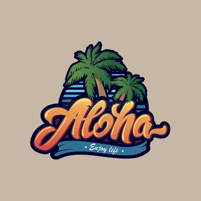 与棕榈树的五颜六色的喂印刷术 喂字法商标 印刷品的例证在T恤杉 库存例证
