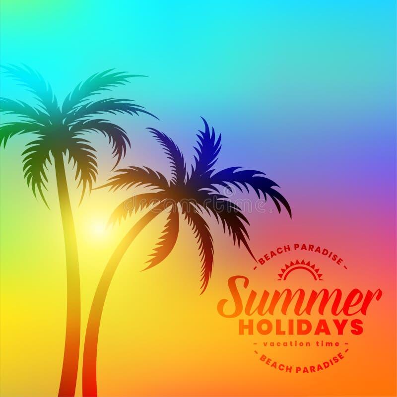 与棕榈树的可爱的五颜六色的夏天休假背景 皇族释放例证