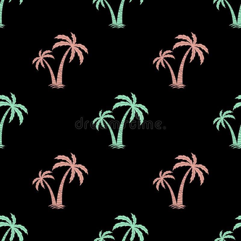 与棕榈树的图象的无缝的背景 向量 简单的模式 夏天背景 库存例证