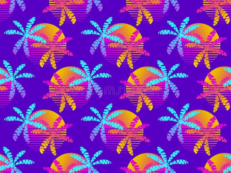 与棕榈树的无缝的样式和太阳,仿照20世纪80年代样式的五颜六色的梯度 夏天减速火箭的背景 ?? 皇族释放例证