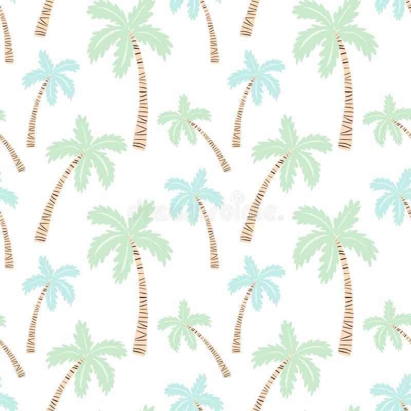 与棕榈树的无缝的热带样式 传染媒介一群火鸟的夏天例证孩子的,纺织品,背景,托儿所, 向量例证