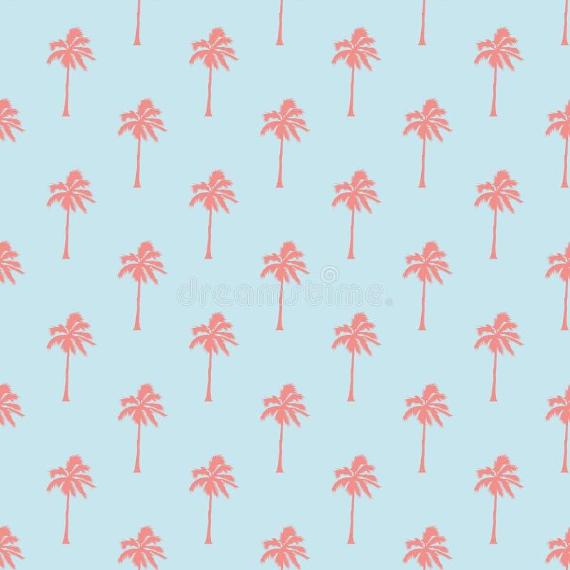 与棕榈树的无缝的热带样式 背景几何老装饰品纸张葡萄酒 森林,密林 抽象自然手拉的背景 皇族释放例证