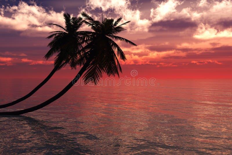 与棕榈树的日出 库存例证
