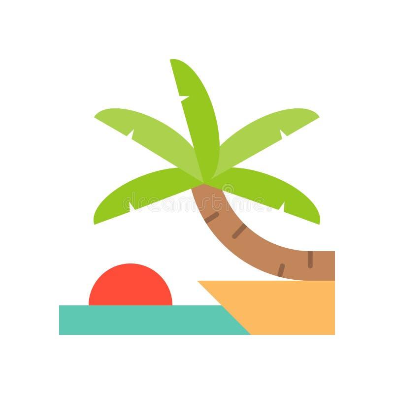 与棕榈树的日落和海滩场面在峭壁,平的观点 皇族释放例证