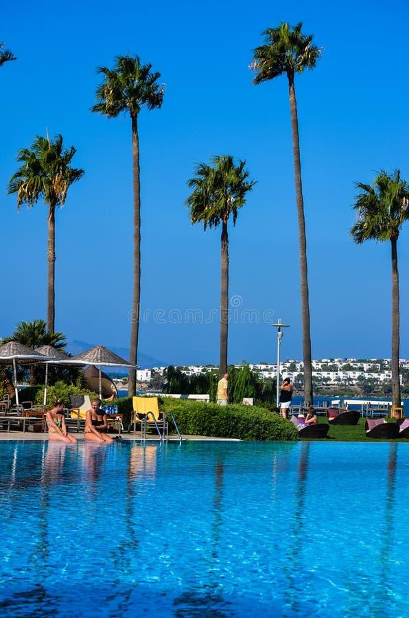 与棕榈树的海滩在博德鲁姆 免版税库存图片