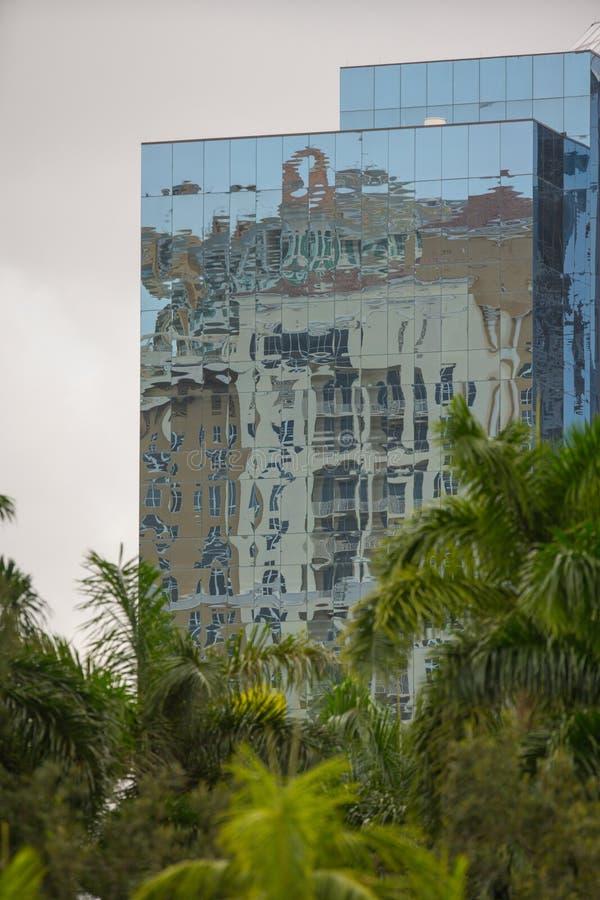 与棕榈树的玻璃办公楼在前景 库存照片