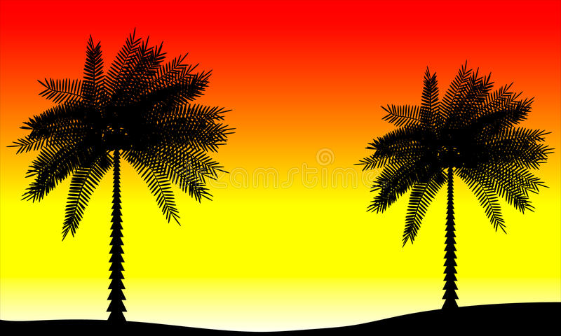 与棕榈树的风景 库存例证