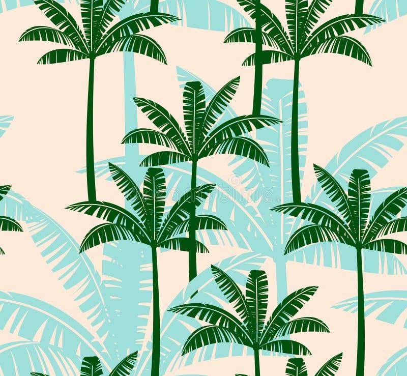 与棕榈树的风格化无缝的样式 向量例证