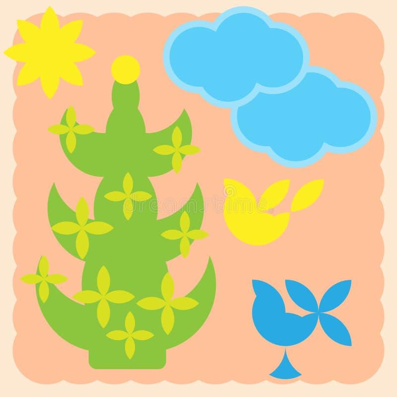 与棕榈树,蓝色云彩,太阳,鸟的贺卡 库存例证