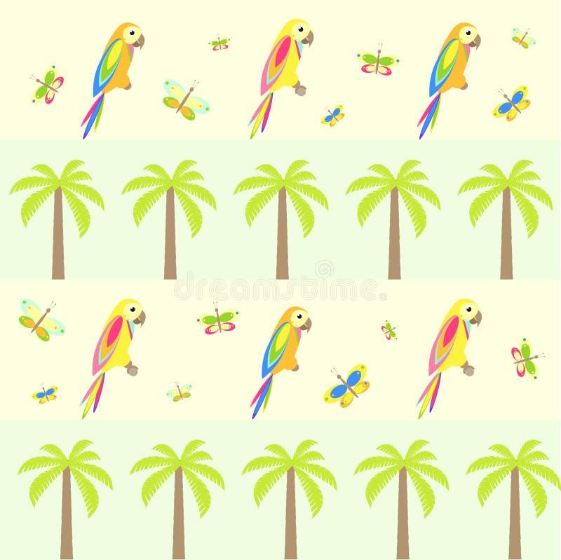 与棕榈树和鹦鹉的无缝的背景 库存例证