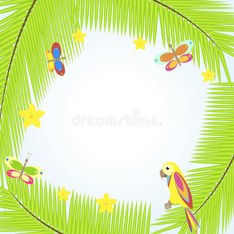 与棕榈树和鹦鹉的框架 向量例证