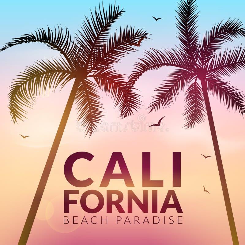 与棕榈的加利福尼亚背景 传染媒介背景海滩 夏天热带横幅设计 天堂海报模板例证 皇族释放例证