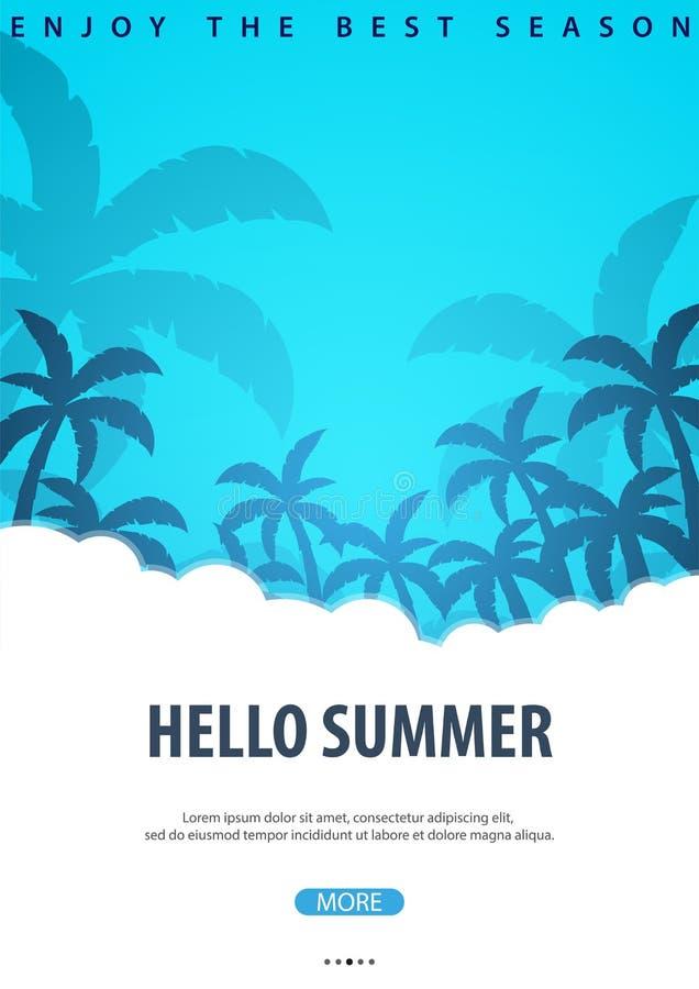 与棕榈的夏天热带背景 夏天招贴海报飞行物邀请卡片 新的成人 也corel凹道例证向量 皇族释放例证