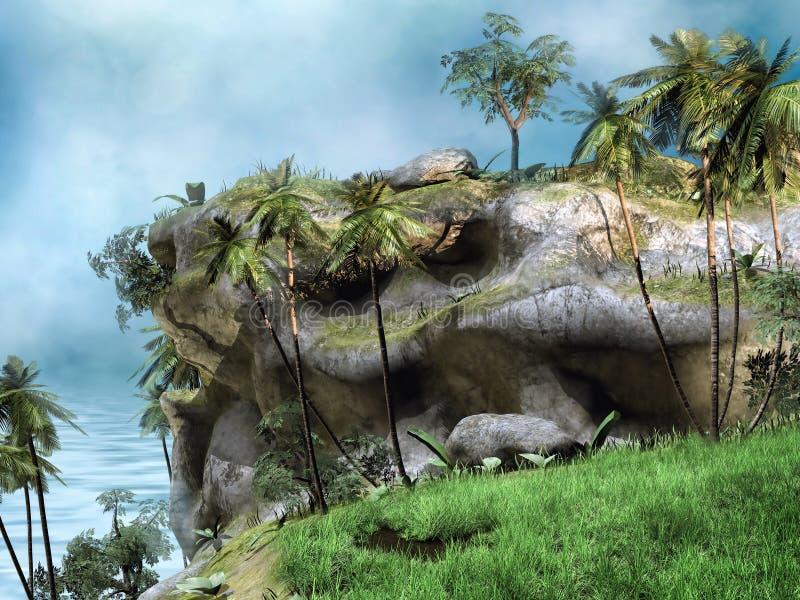 与棕榈的峭壁 向量例证