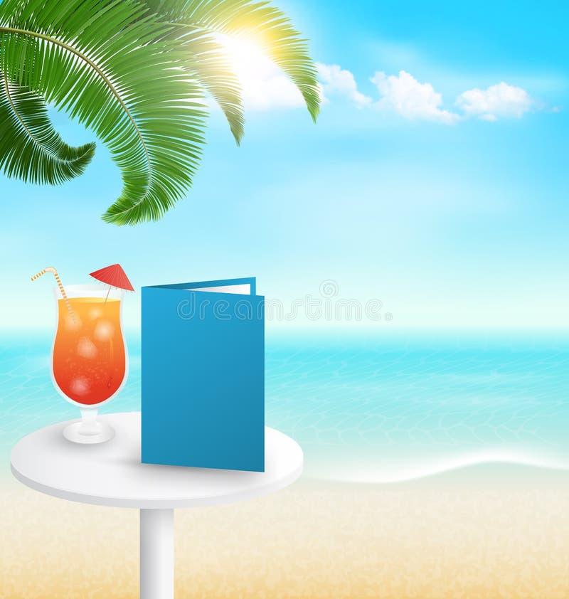 与棕榈鸡尾酒菜单和云彩的海滩 暑假backgr 向量例证
