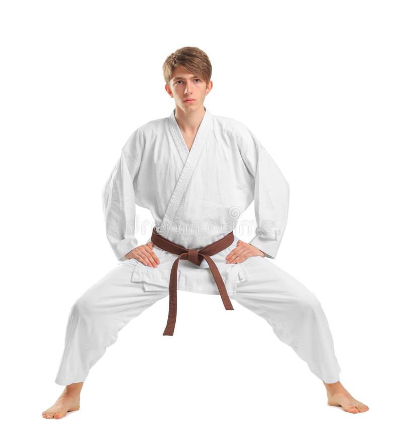 与棕色传送带的年轻人karatek在白色隔绝了背景 免版税图库摄影