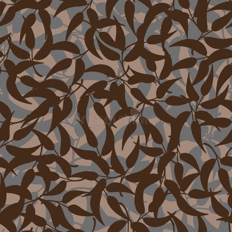 与棕色叶子的无缝的传染媒介样式 库存例证
