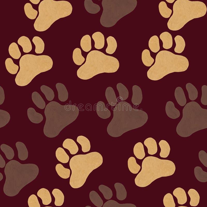 与棕色和米黄丙烯酸酯的爪子印刷品的无缝的样式 皇族释放例证