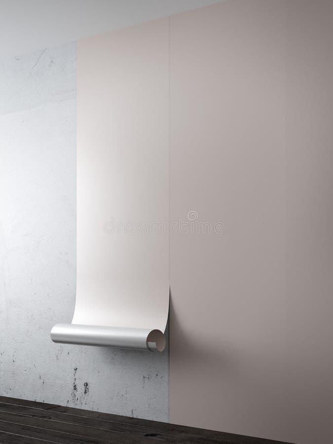 与棕色墙纸的内部 皇族释放例证