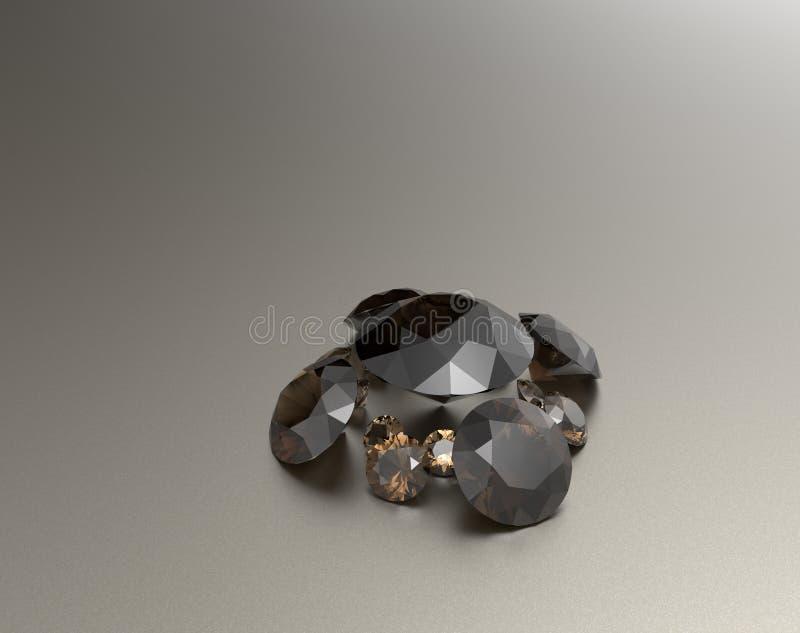 与棕色宝石的背景 3d例证 库存图片