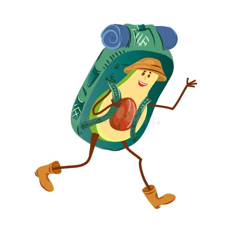 与棕色帽子和大背包的旅游鲕梨字符 库存例证