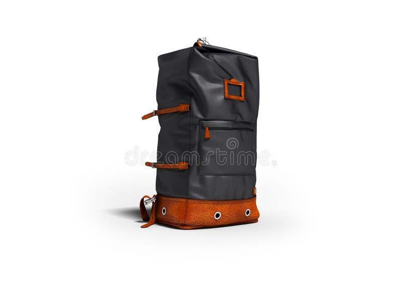 与棕色插入物的旅行的蓝色袋子在自然权利的旅行的 向量例证