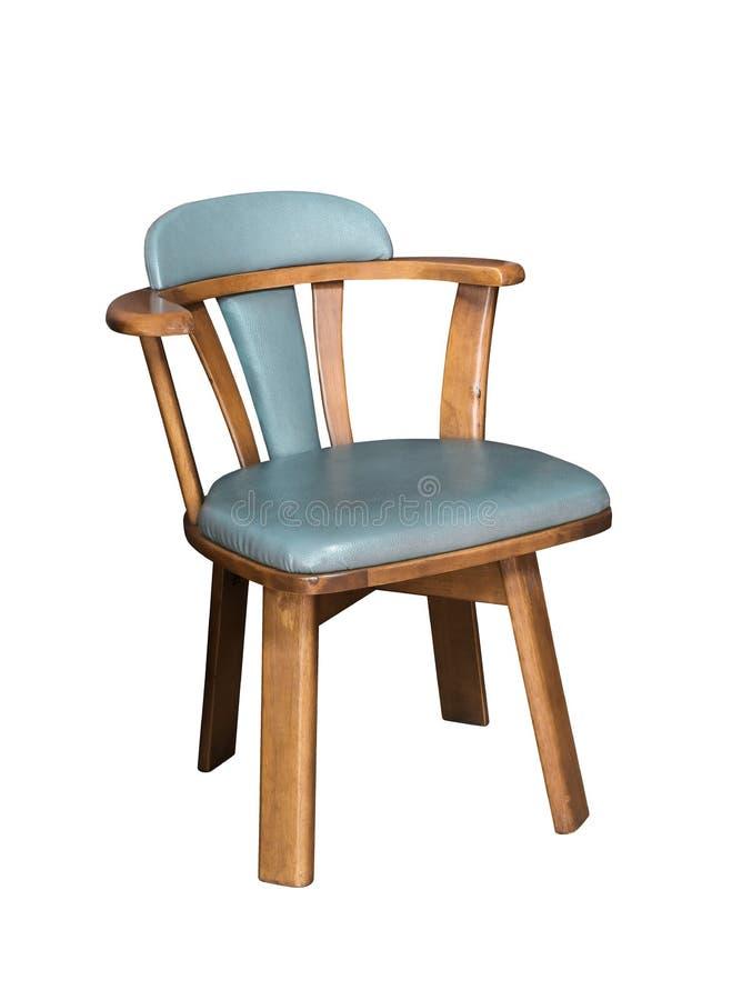 与棕色木头的老木椅子和有在白色背景隔绝的一个皮革位子 免版税图库摄影