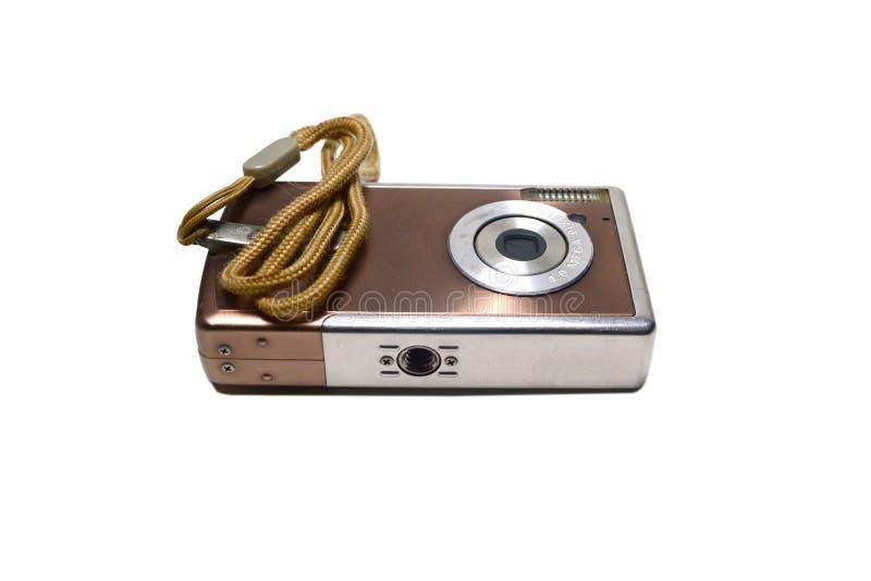 与棕色皮带的老棕色数字照相机 库存图片