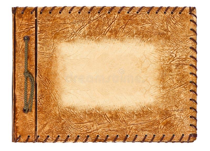与棕色皮革盖子的葡萄酒册页 库存照片