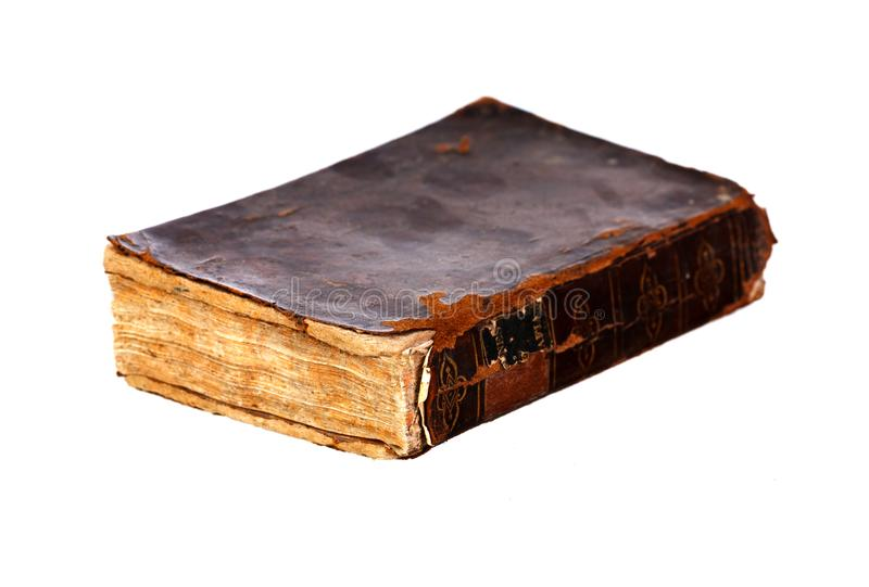 与棕色盖子的旧书 免版税库存照片