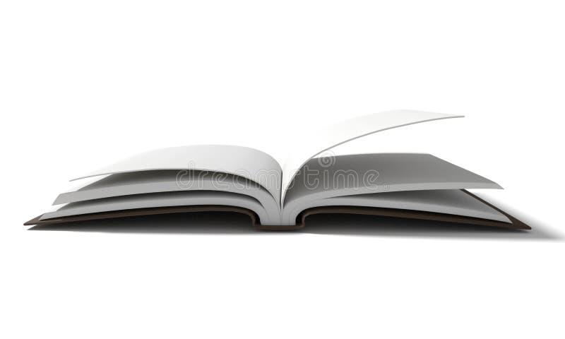 与棕色精装书的空白的白皮书在3D翻译的被隔绝的白色背景 皇族释放例证
