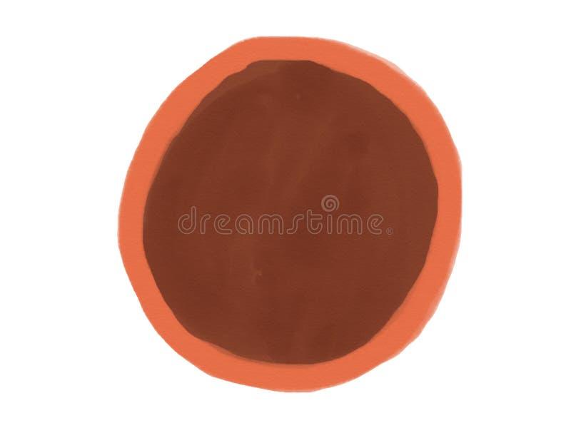 与棕色颜色,例证色的树荫的软颜色葡萄酒淡色抽象水彩圈子商标背景孤立  库存照片