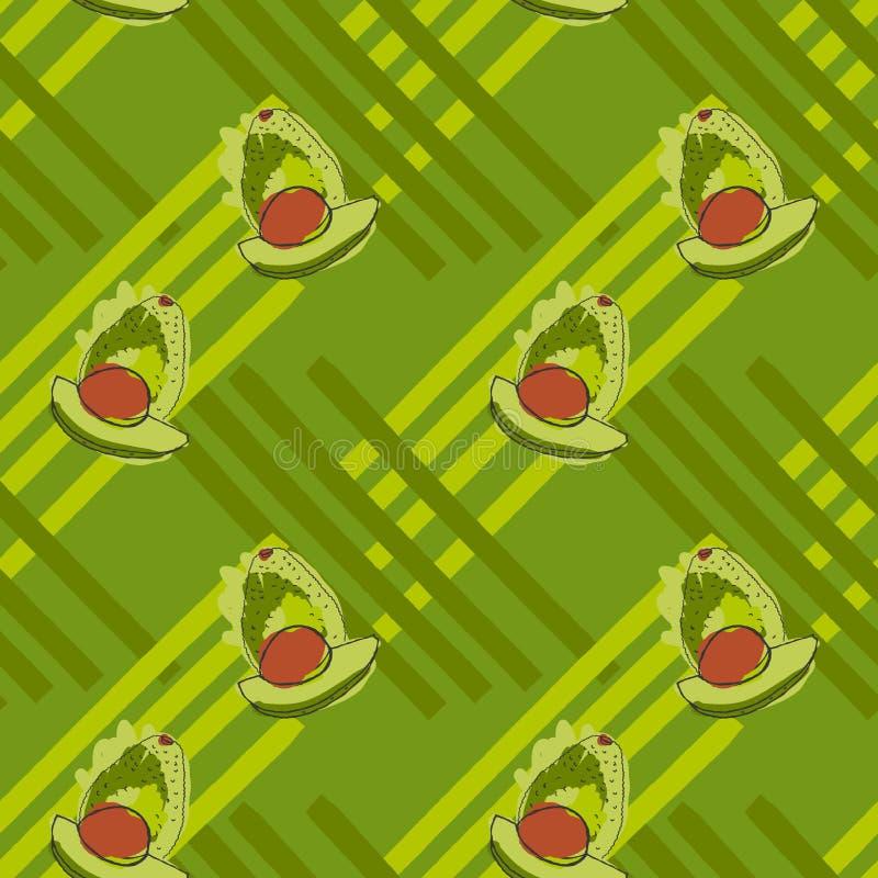 与棕色仁的绿色鲕梨在条纹 库存例证