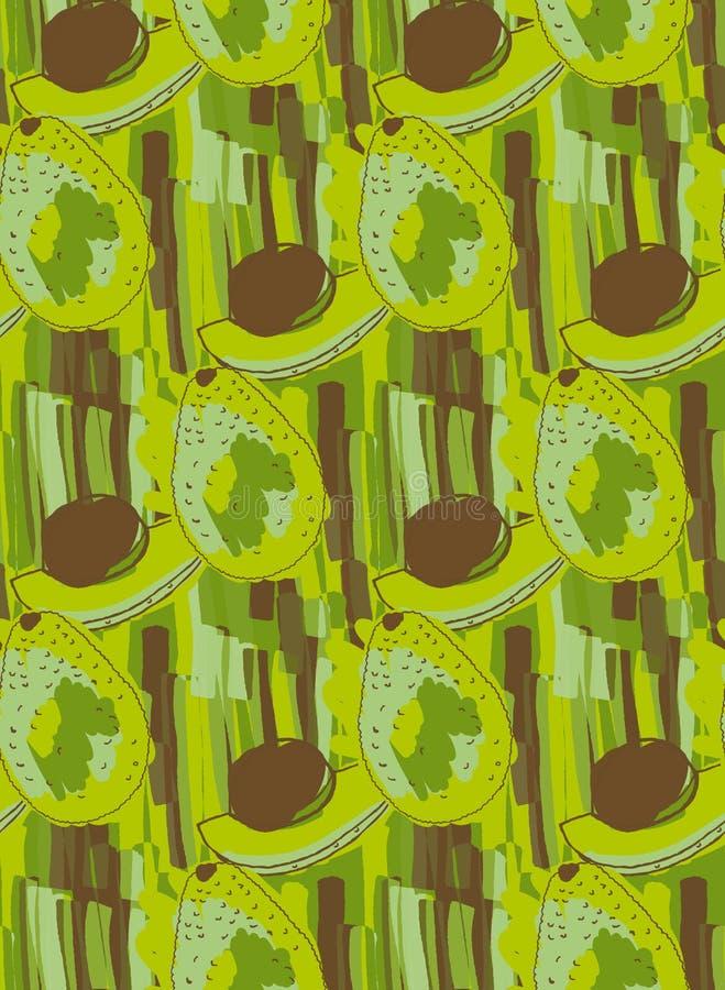 与棕色仁的绿色鲕梨 库存例证