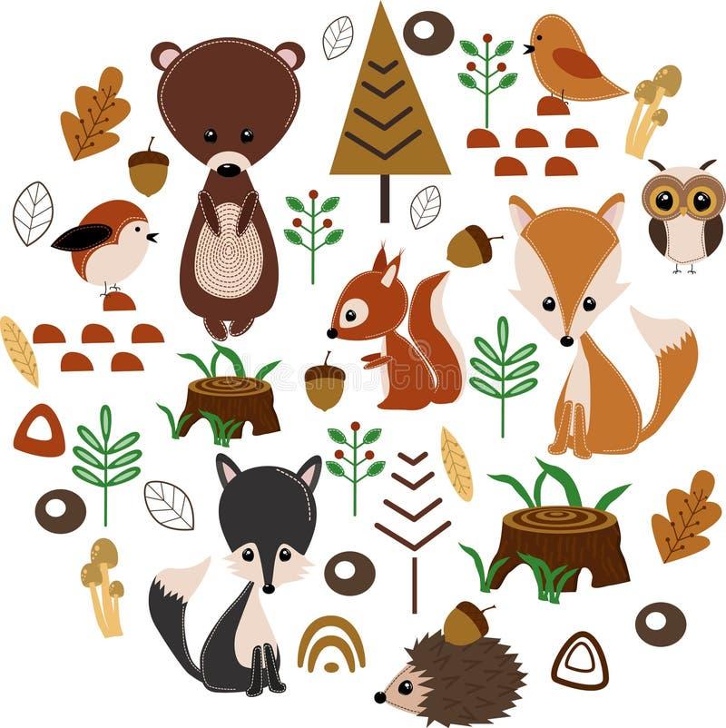 与森林动物的海报-传染媒介例证,eps 向量例证