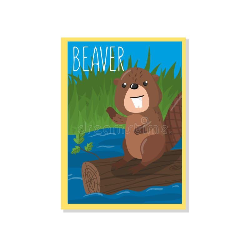 与森林地动物,横幅的,飞行物,招贴,贺卡,动画片设计元素的逗人喜爱的海狸传染媒介例证 库存例证