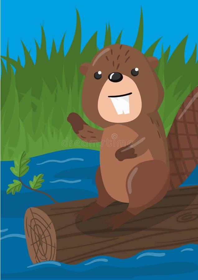 与森林地动物,横幅的,飞行物,招贴,贺卡,动画片设计元素的逗人喜爱的海狸传染媒介例证 皇族释放例证