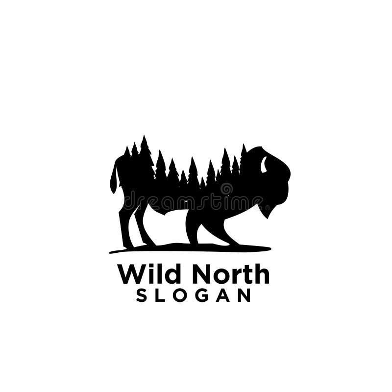 与森林木消极空间商标的北美野牛 库存例证