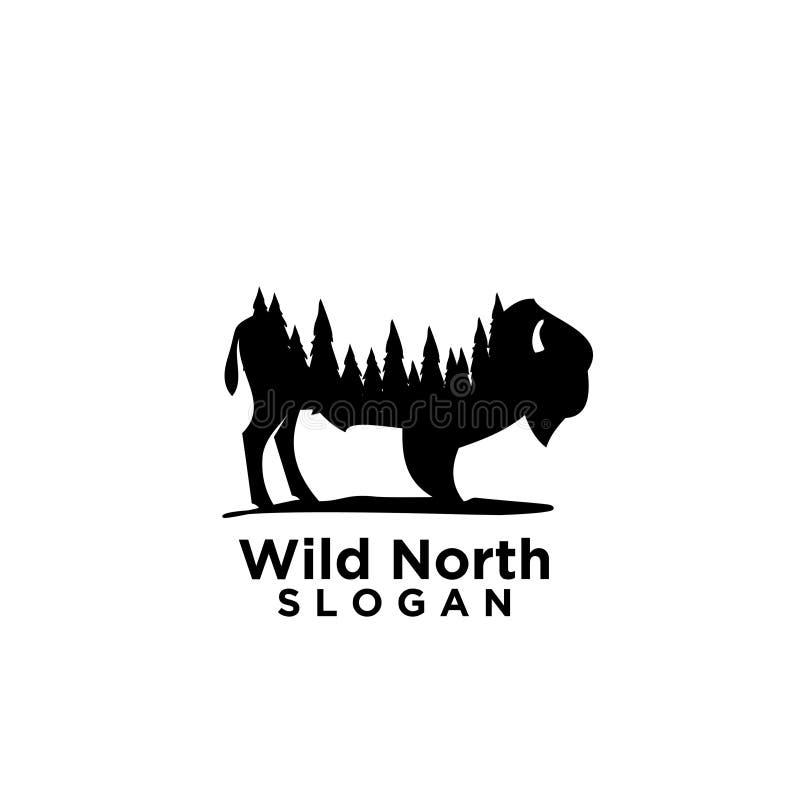 与森林木消极空间商标的北美野牛 向量例证